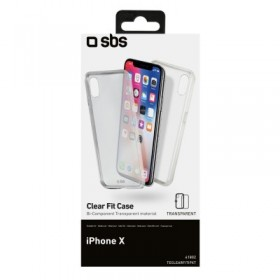 Cover trasparente in doppio materiale TPU e PC per iPhone X