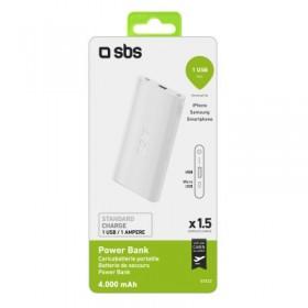 Power Bank Polymer, 4.000 mAh 1 uscita USB 1A, colore bianco